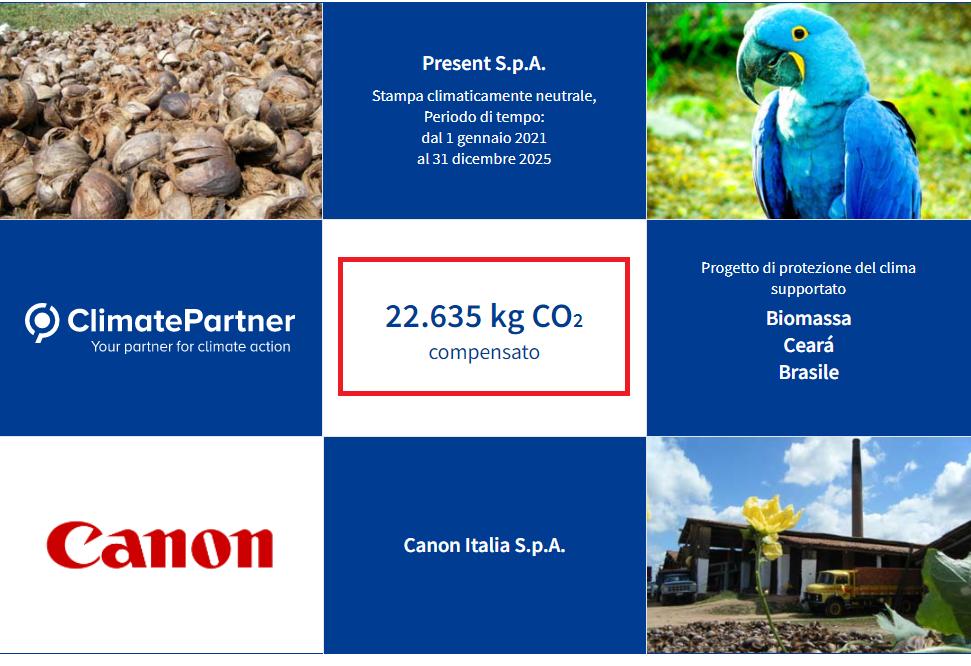 """Present SpA partecipa al progetto """"Climate Neutral Printing"""" di Canon"""